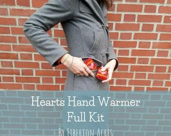 Hearts Hand Warmer Full Knitting Kit