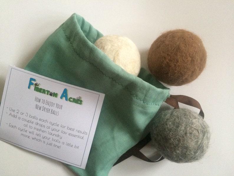 Alpaca Dryer Balls  100% Alpaca Fiber  Hand Felted  Set of image 0