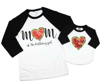 0d33f199 mommy and me matching birthday shirts   watermelon party shirts   mom of  the birthday girl raglan shirt   sweet one 1st birthday tee