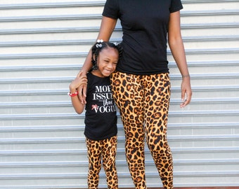 fbd2c3ce2 mommy and me outfits - mom and daughter matching leggings - leopard print  pants - animal print - yoga pants - baby shower gift - leggings