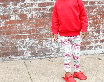 girls Christmas leggings - fair isle holiday leggings - toddler girl and baby girl Christmas outfits