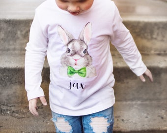 20e7e1ff personalized boys Easter bunny t-shirt toddler boys Easter bow tie bunny tee  custom boys Easter shirt baby boy Easter outfit