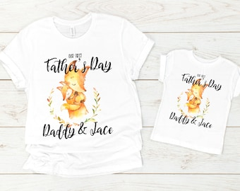 15cc9e93 our first fathers day shirts | matching daddy and me t-shirts | father son  matching fox tees | gift for new dad | daddy and daughter set