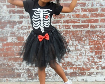 839202821d1 kids halloween shirt - girls skeleton costume - red and black tutu outfit  for baby girls