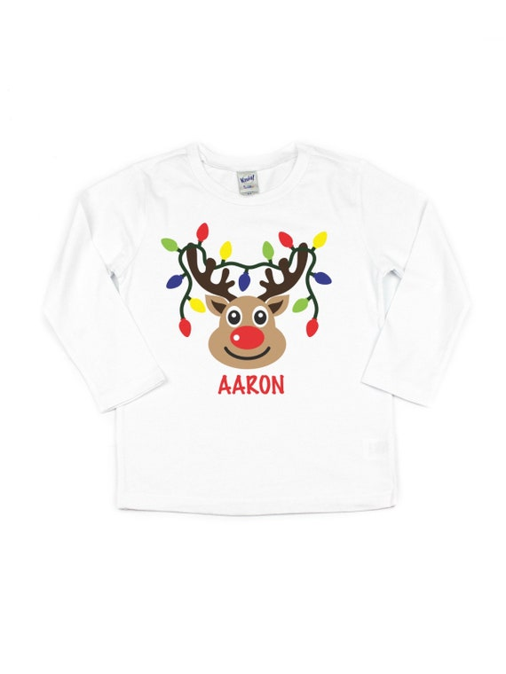 personalized reindeer christmas lights kids t