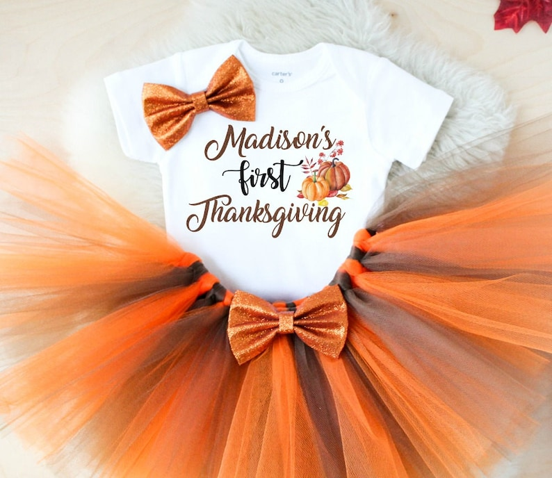 b29133b7e Baby girl first thanksgiving outfit | Etsy