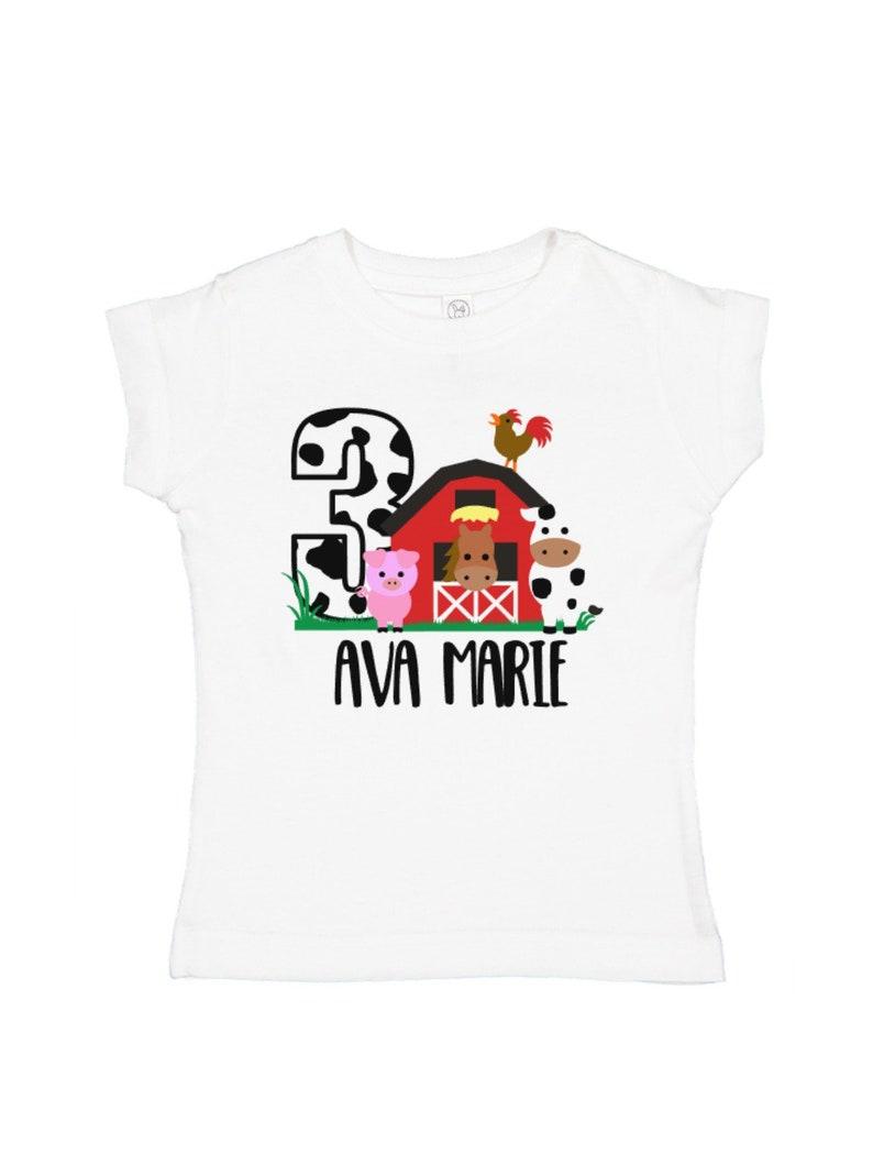 Girls Farm Animal Birthday Shirt