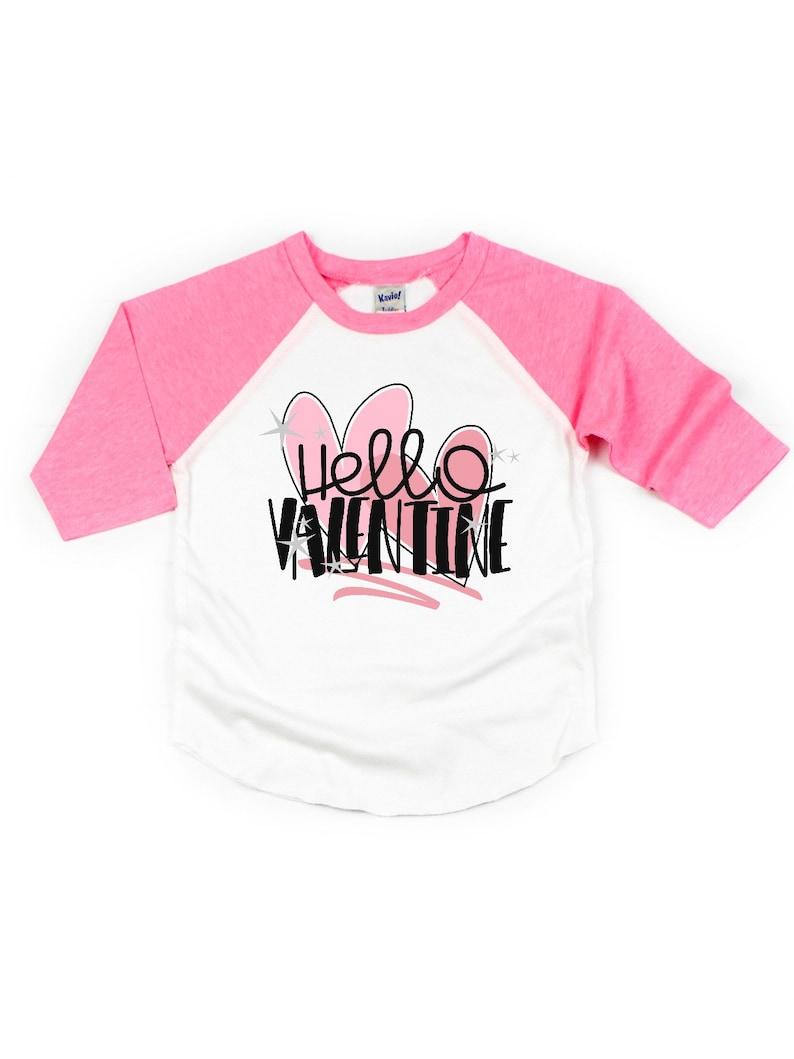 c3e8141f Hello valentine girl's t-shirt kids valentine's day | Etsy
