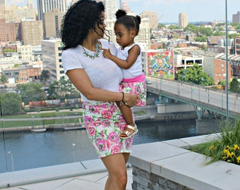 mother daughter matching skirts - mommy and me outfits - pink floral skirts set of 2