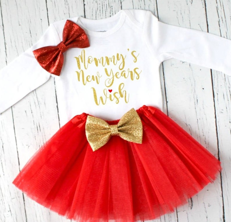 fe4de4dfa Mommy's New Years wish baby girl tutu outfit in red and | Etsy