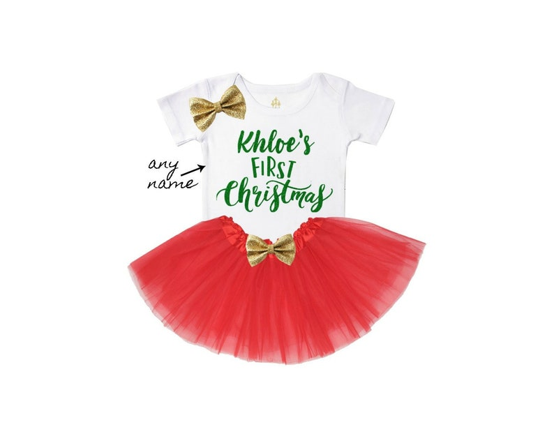 e0c3bb2c0ce Baby s first christmas outfit personalized girl holiday