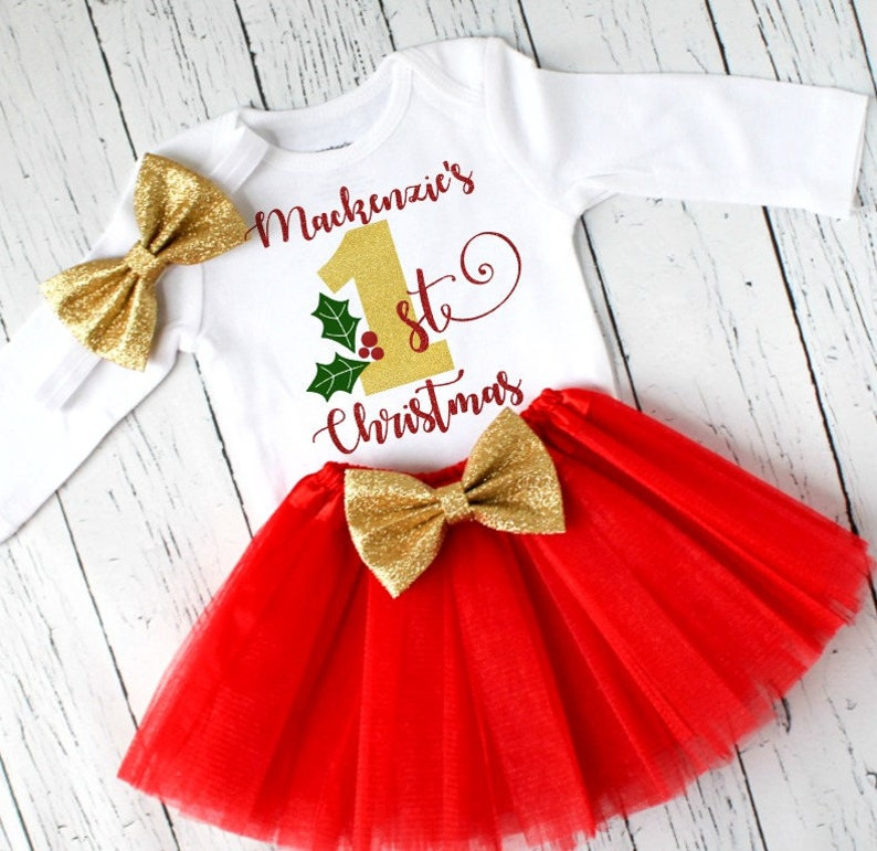 b2e60163877f Baby girl first Christmas outfit personalized 1st holiday   Etsy
