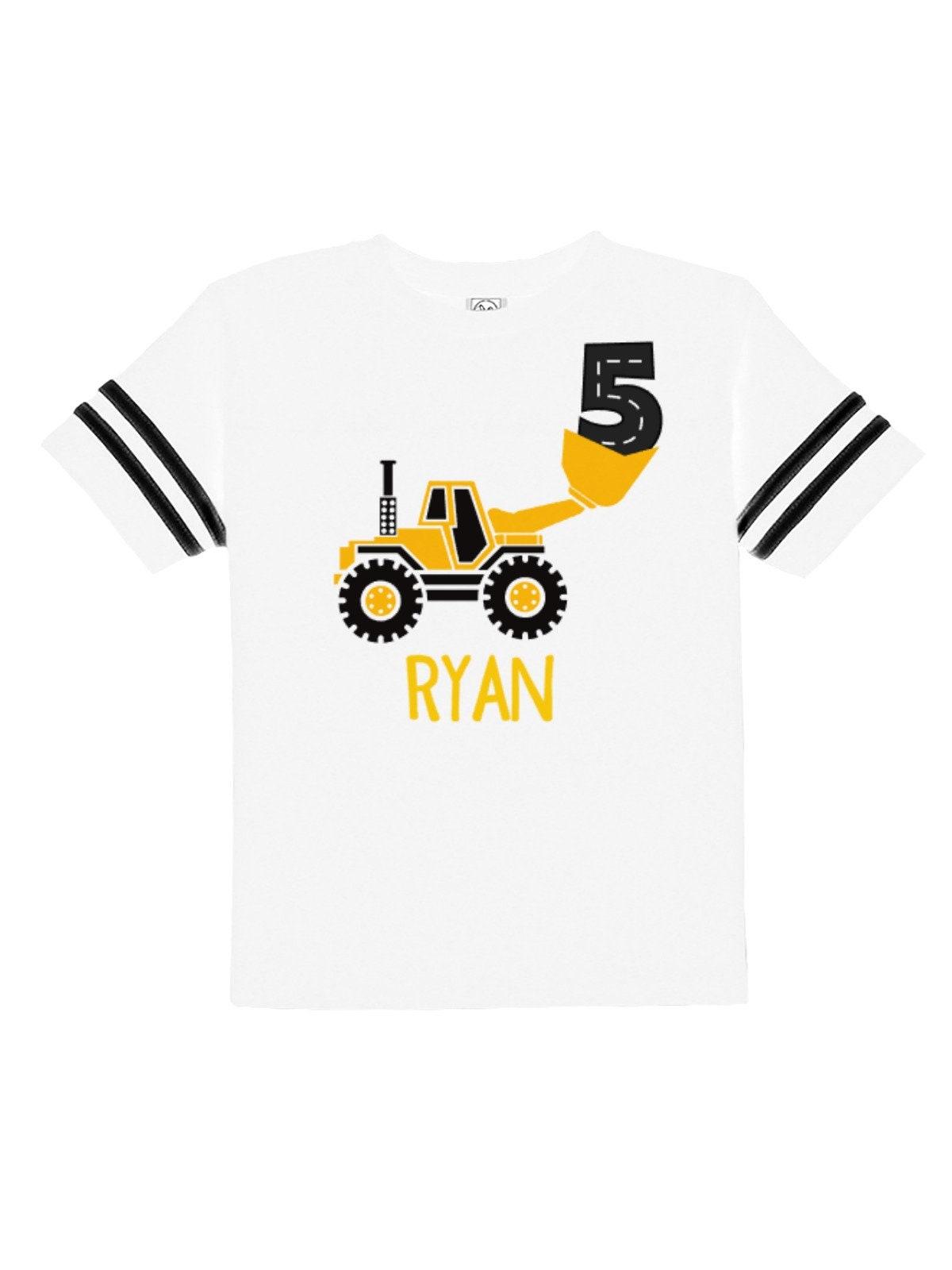 5th Birthday Construction Party Shirt - Personalized Yellow Tractor Shirt - Boys Birthday T-shirt - Football Jersey Style Bodysuit Unisex Tshirt