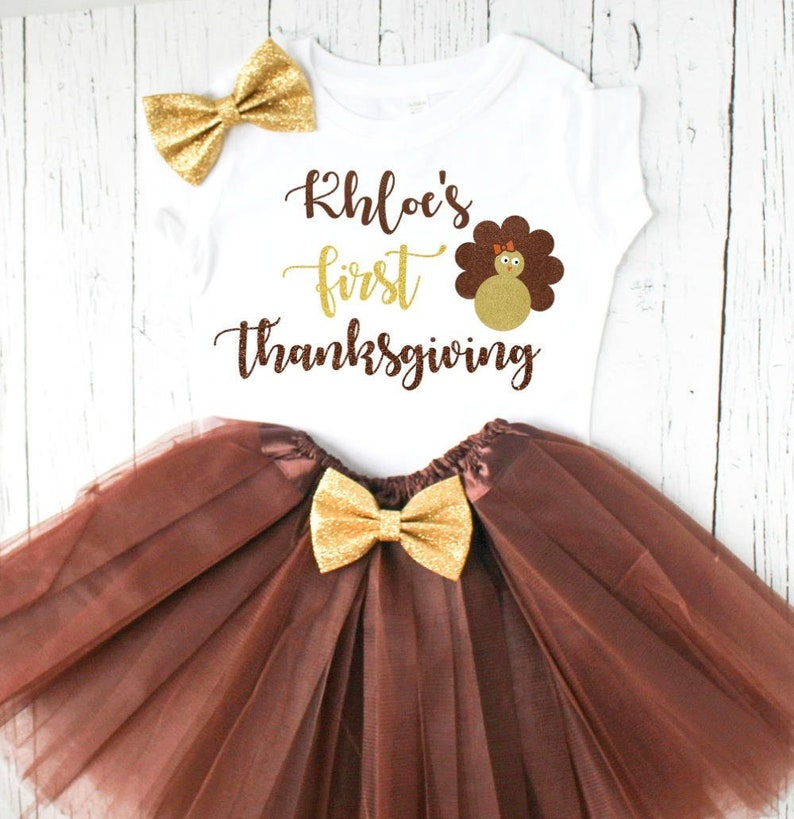 3b48db3dd Personalized baby girl first thanksgiving outfit | Etsy