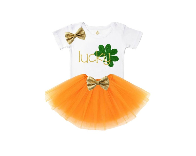 girls st patricks day tutu outfit orange gold and green baby girl set green leaf clover