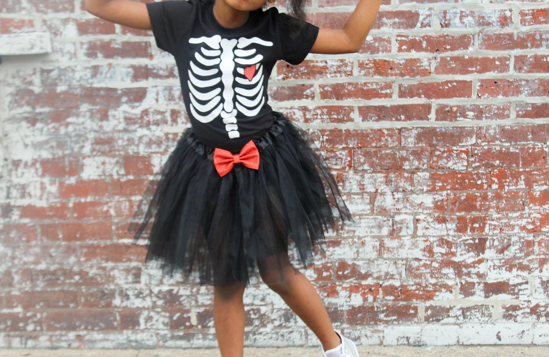 20e83052b Kids halloween shirt girls skeleton costume red and black