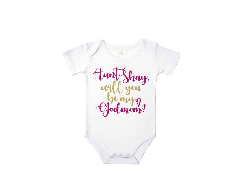 will you be my godmother bodysuit godmom proposal personalized baby bodysuit girl baby girl clothes baby shower gift new baby gift