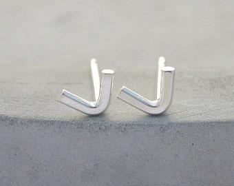Mismatch Unisex Sticks Black DADA Oxidized Silver Stud One DADA Inspired Bar Earring. Modern Geometry Black Line Sterling Earring