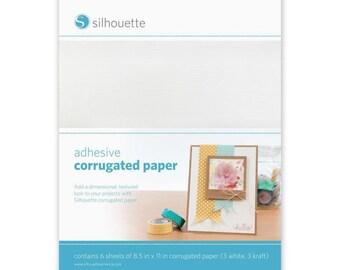 Silhouette America Corrugated Paper 3 - 8.5 x 11 White Adhesive and 3 - 8.5 x 11 Kraft Adhesive