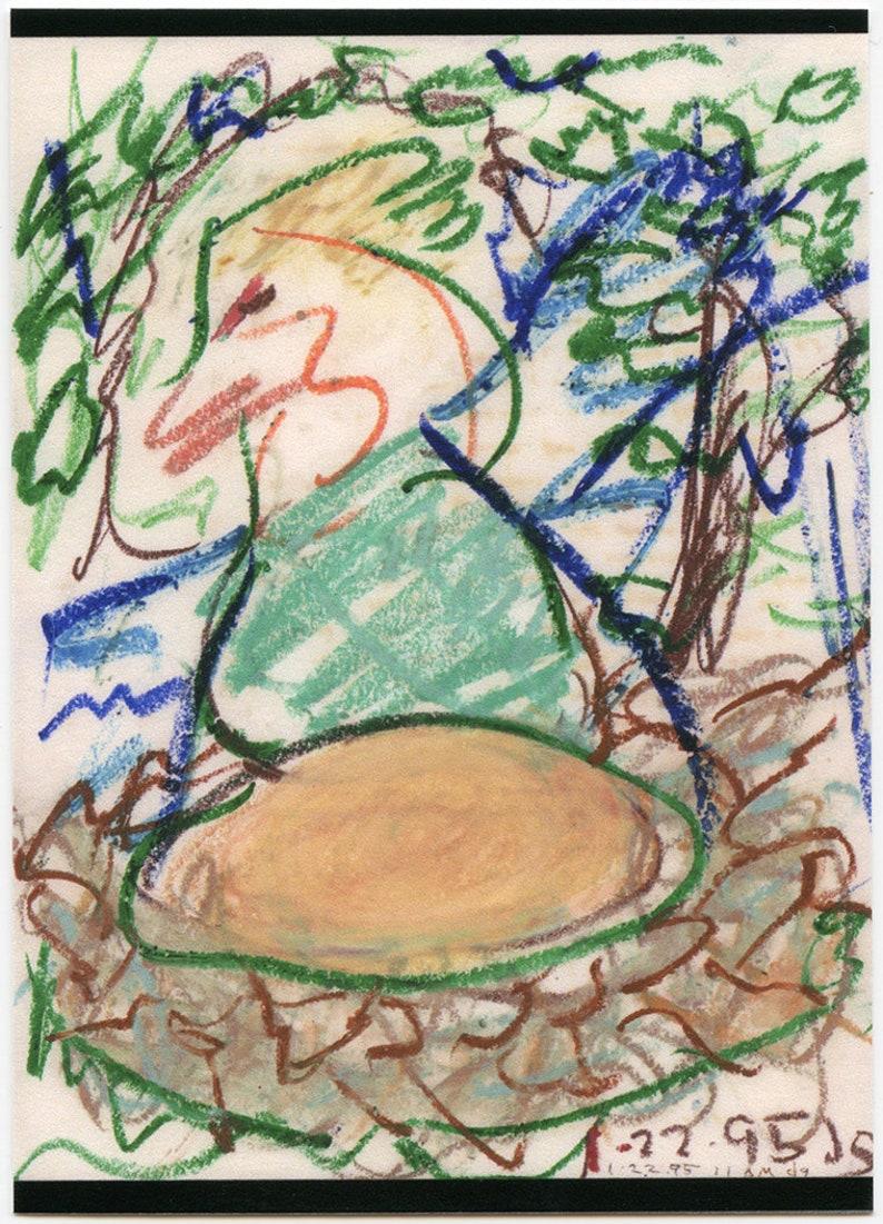 ATC Artist Trading Card #83 Golden Egg dg limited edition ink jet print of 1995 outsider art brut oil pastel by Denis Grundmann