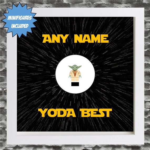 Yoda Best Minifigure Frame, Mum, Gift, Geek, Box Frame, Friends, Dad, Idea, Birthday, Anniversary, Wedding, For Her, For Him, Friends