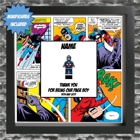 Captain America Best Man, Groomsman, Usher, Page Boy Minifigure Frame