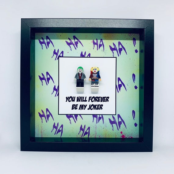 Harley Quinn And Joker 2PC Minifigure Frame. Ideal For Valentines Day Or Wedding Anniversary