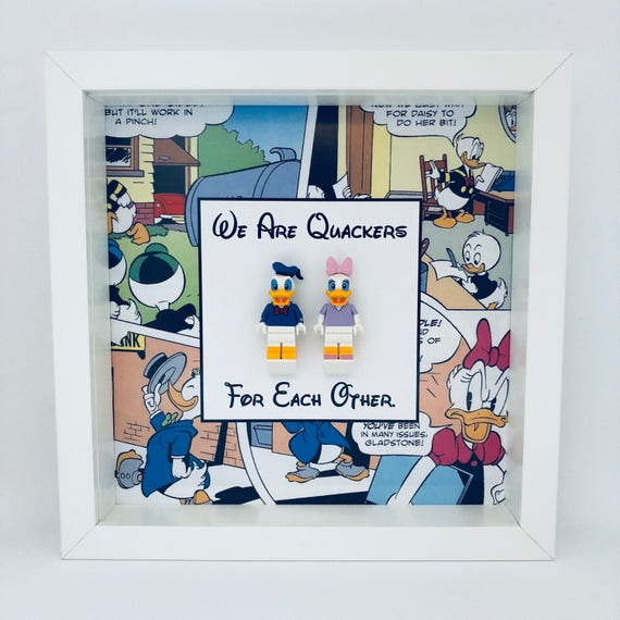 "Donald And Daisy Duck ""We Are Quackers For Each Other"" Minifigure Frame"