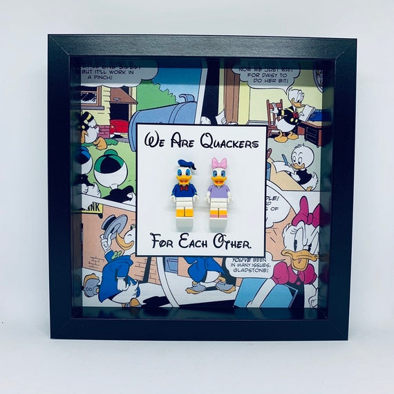 Donald And Daisy Duck 2PC Minifigure Frame. Ideal For Valentines Day, Anniversary Or Birthdays