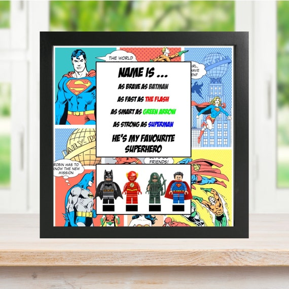 DC Comics Minifigure Frame, Mum, Gift, Geek, Box, Personalised, Dad, Idea, Birthday, Anniversary, For Him, Comic, Fathers Day,