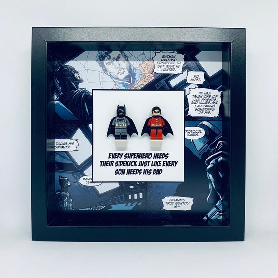 Batman And Robin Dad Minifigure Frame. Ideal For Fathers Day
