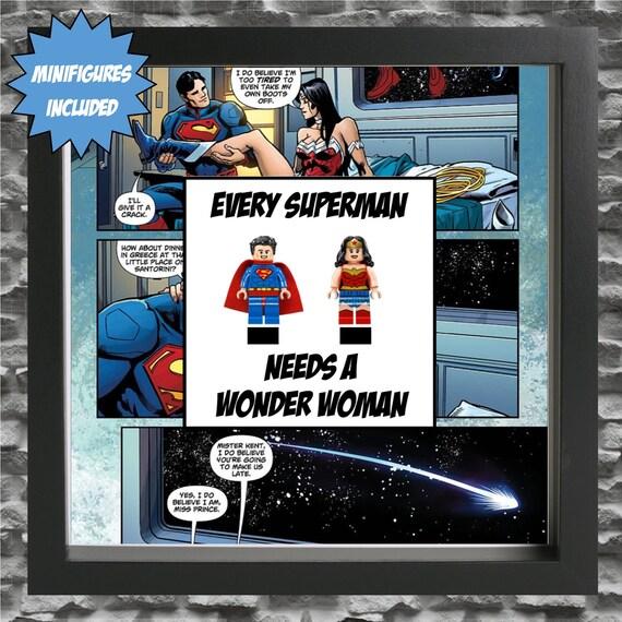 Superman And Wonder Woman Minifigure Frame