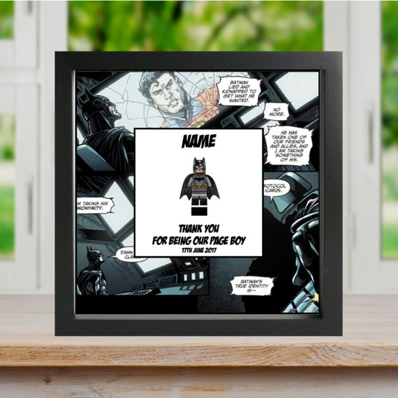 "Batman ""Thank You For Being My"" Best Man, Groomsman, Usher, Page Boy, Ring Bearer Minifigure Frame"