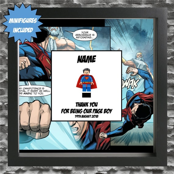 Superman Best Man, Groomsman, Usher, Page Boy Minifigure Frame