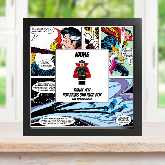 Doctor Strange Best Man, Groomsman, Usher, Page Boy Minifigure Frame, Gift, Frame, Comic, Wedding, For Him, Superhero, Hero, Ring Bearer