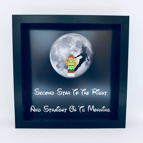 """Peter Pan """"Second Star To The Right"""" Minifigure Frame"""