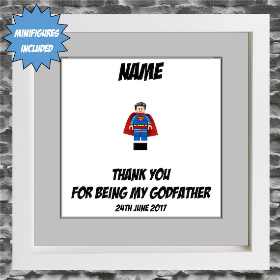 Godfather Christening Minifigure Frame, Mum, Gift, Geek, Box Frame, Framed, Idea, For Him, Superhero, Hero, Frames