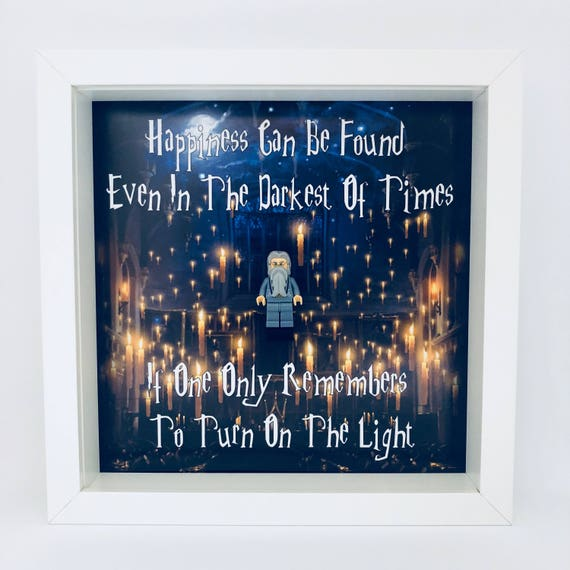 """Dumbledore """"Happiness Can Be Found"""" Minifigure Frame"""