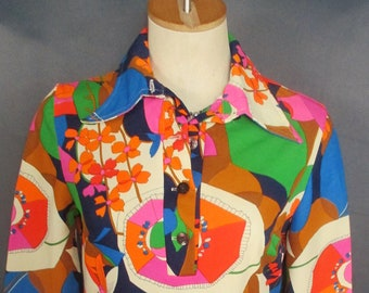 Vintage 60s Mod Floral Mini Shift Shirt Dress Psychedelic Multi Color Print GoGo Scooter