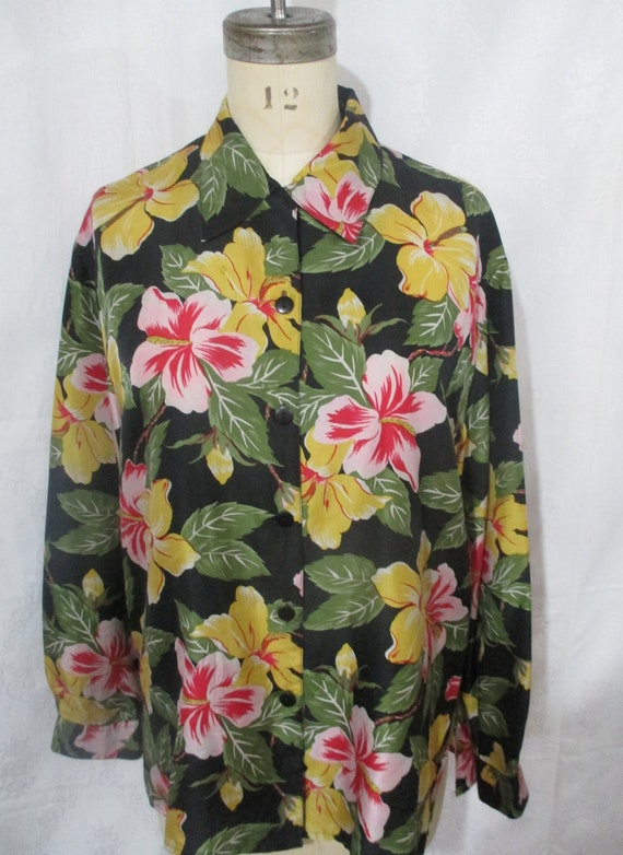 Elite International 100% Silk Floral Blouse Yellow