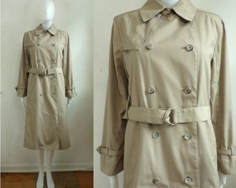 98f66e12f7a Vintage Canvas Trench Coat | 70s Water Repellent Double Breasted Belted  Trench Coat | Womens Size Medium Petite
