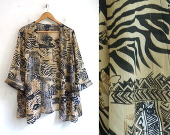 50908dc04 Vintage Sheer Top/Jacket   90s African Tribal Print Sheer Crepe Open Front  Jacket   Womens Size XL