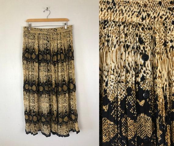 Vintage Python Print Skirt | 90s Rayon Animal Prin