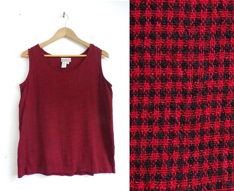 Vintage Plaid Tank Top 90s Red /& Black Checkered Lightweight Sleeveless Shirt Womens Size Medium 1990s Coldwater Creek