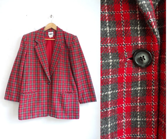 Vintage Plaid Wool Blazer 80s Red Tartan Boxy Cut