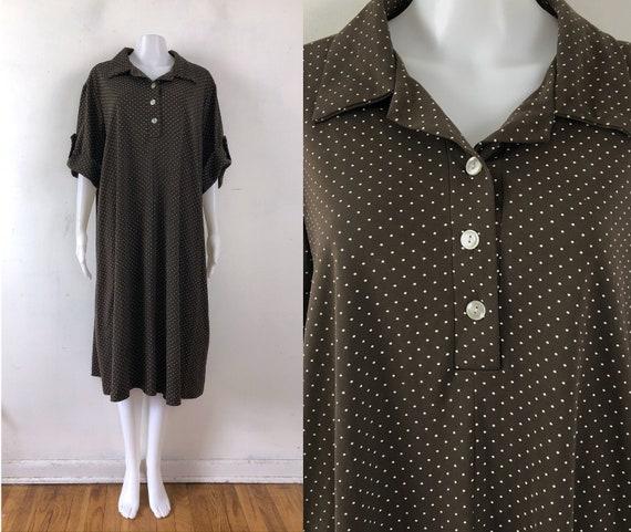 Vintage Polka Dot Dress   70s Brown Fine Knit Coll