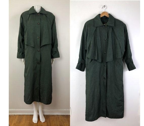 Vintage Waterproof Rain Coat | 80s Olive Green Lon