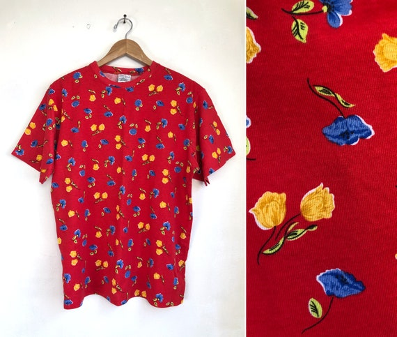 Vintage Finely Knit Top 90s Mod Abstract Pattern Shirt Womens Size MediumLarge