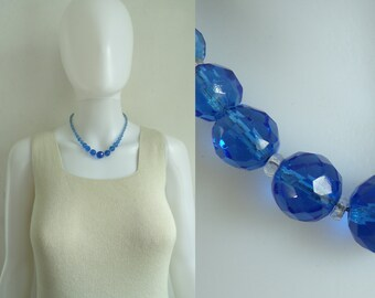 crystal bead necklace 60s iridescent blue beaded necklace minimalist mad men 1960s vintage jewelry jewellery