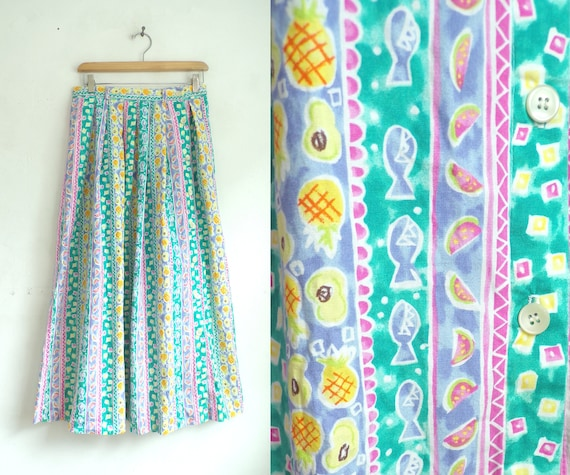 Vintage Fruit Print Skirt | 80s Colorful Pastel Fo